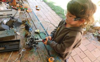Kids using the tools